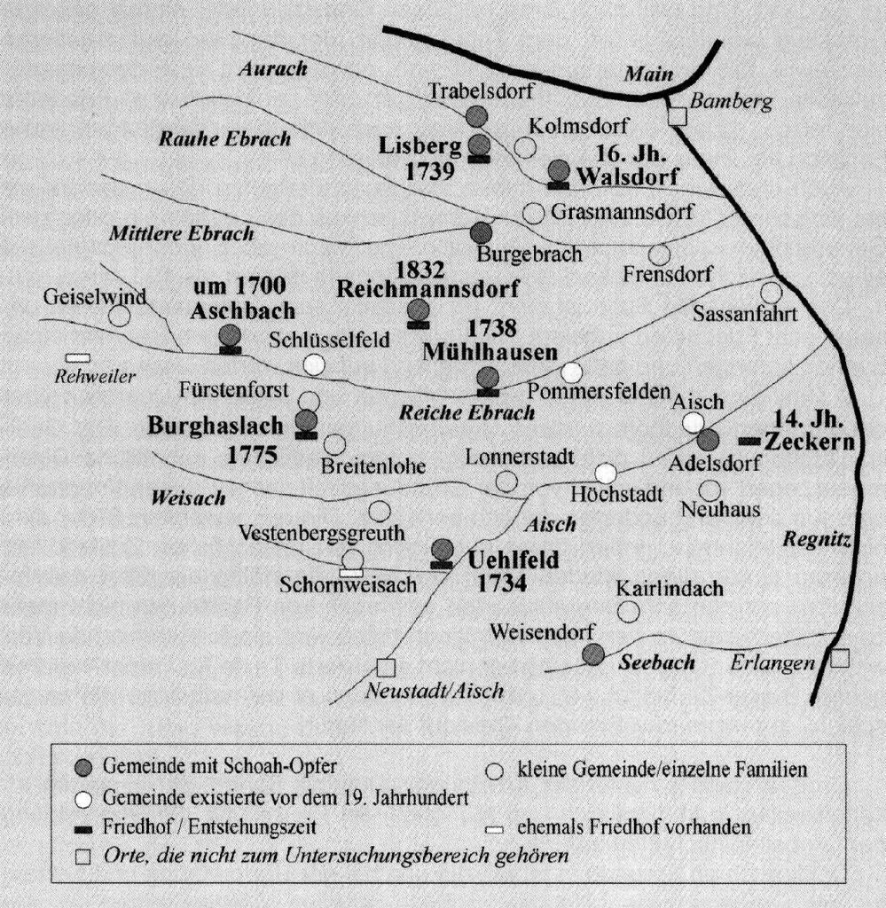 Karte mit Orten, die jüdische Einwohner und Einrichtungen hatten